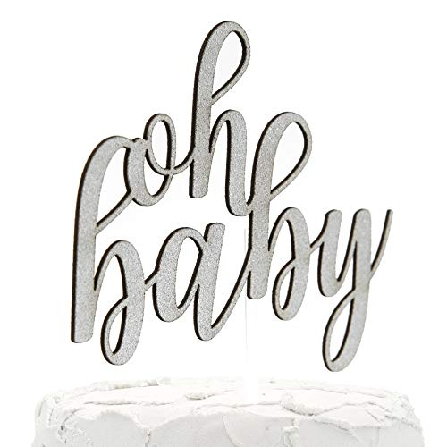 NANASUKO Baby Shower Cake Topper - oh baby - Double Sided Silver Glitter - Premium Quality Made in USA