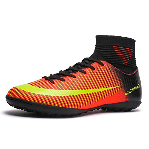 Binbinniao CR Indoor TF Turf Cleats Boys - High Tops Ankle Boots Women - Messi Turf Outdoor Soccer Shoes - High Tops Collar Men Size 11 (8 M US=EUR/39, Black)