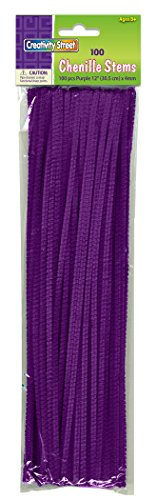 Purple Chenille Stems - Creativity Street Chenille Stems/Pipe Cleaners 12 Inch x 4mm 100-Piece, Purple