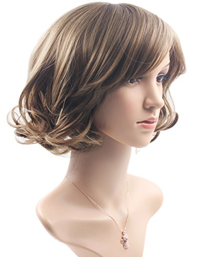 Women's Wig Halloween Costume Wig Short Bob Brown Wig with Bangs Curly Wavy Synthetic Cosplay Party Hair Wig 10.6 inches ()