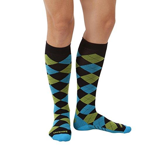 Zensah Argyle Compression Socks,Black/Turquoise/Green Apple,Large