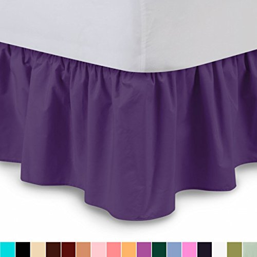 Ruffled Bed Skirt (Queen, Grape) 14 Inch Drop Dust Ruffle with Platform, Wrinkle and Fade Resistant - by Harmony Lane (Available in all bed sizes and 16 colors) (Purple Ruffle)