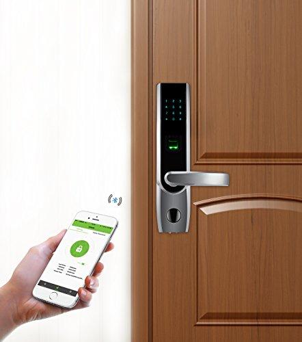 ZKTeco TL400B Fingerprint Biometric Door Lock with APP Digital Keyless Bluetooth Locks Smart Home Entry + 5pcs RFID Cards,Left Handed (Lock Entry Biometric)
