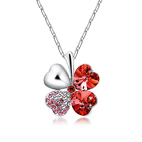 The Starry Night Lucky Four Leaf Clover Red Crystal Pendant Diamond Accented Silver Plated Flower - Designers Waterford Crystal