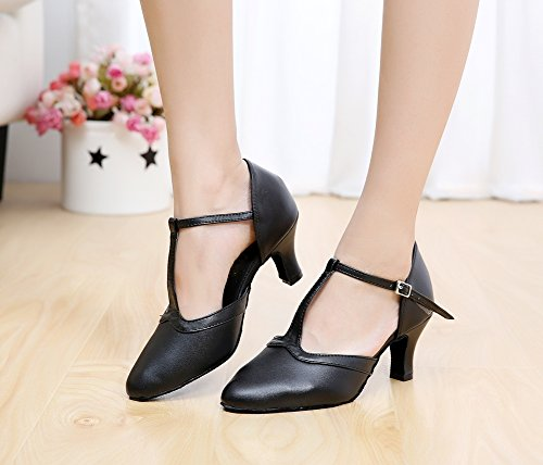 Zioso Latin 9 Salsa Tango Black QJ7011 Womens Dance M Shoes US Wedding Strap Party T Modern Leather Evening Ballroom rrvS80