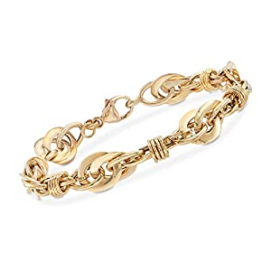Ross-Simons Bracelets | Italian 18kt Yellow Gold Bracelet | Circle and Oval Multi-Link
