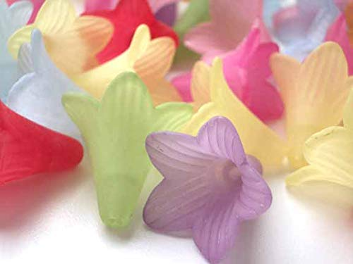 Large Assorted Multicolor Frosted Acrylic Petunia Flower Beads Caps For Jewelry Making (1