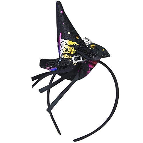 Celendi-Unique Design Halloween Witch Spider Pumpkin Bats Ghosts Cap Hoop Short Plush Hairband (F) ()