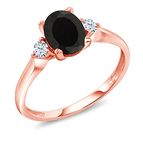 1.35 Ct Oval Black Onyx White Created Sapphire 10K Rose Gold 3-Stone Ring (Available in size 5, 6, 7, 8, 9) - Onyx Rose Ring