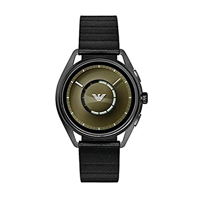 Emporio Armani Men's 'Smartwatch' Stainless Steel and Leather Smart Watch, Color:Black (Model: ART5009) by Emporio Armani Connected Watches Child Code