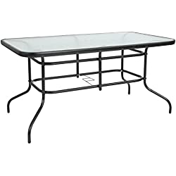 "Flash Furniture 31.5"" x 55"" Rectangular Tempered Glass Metal Table"