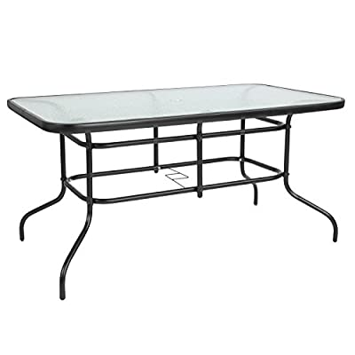 """Flash Furniture 31.5"""" x 55"""" Rectangular Tempered Glass Metal Table - Patio Table Top Size: 31.5""""W x 55""""L Base Size: 27""""W x 52""""D - patio-tables, patio-furniture, patio - 41G3%2BnDzmSL. SS400  -"""