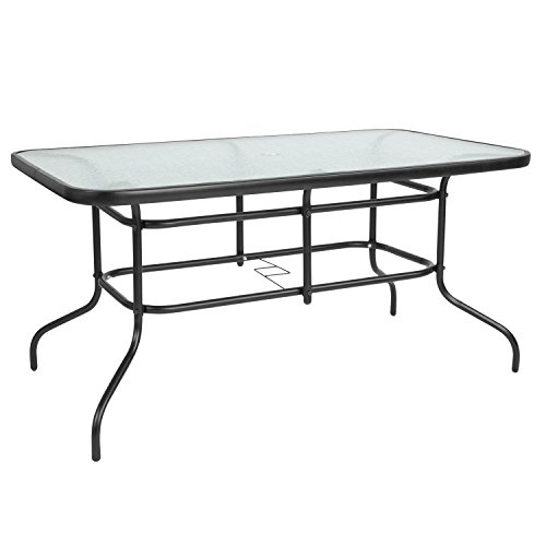 Flash Furniture 31.5 x 55 Rectangular Tempered Glass Metal Table