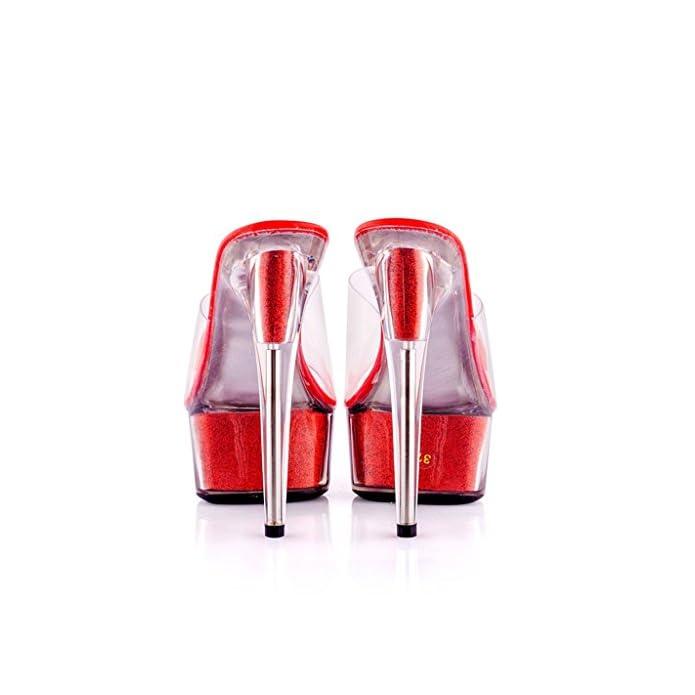 Single Shoes - Female Scarpe Da Donna Sexy Tacchi Alti 15 Centimetri Pantofole D'estate Trasparenti Di Cristallo Moda Trasparente colore Rosso Dimensioni 40-shoes Long250mm