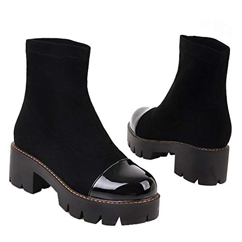 Boots Stiefeletten Kurzschaft High AIYOUMEI Blockabsatz Plateau Heels Stretch Stiefel Ankle Schwarz Z6O6Xq