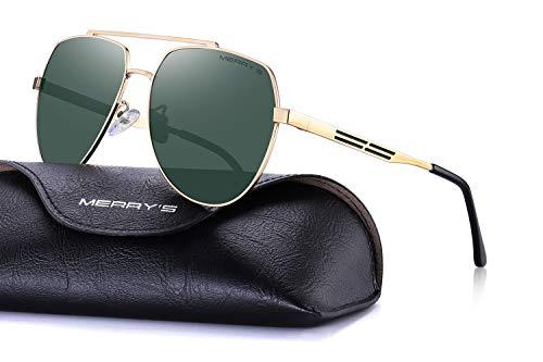 MERRY'S Men Classic Pilot Sunglasses HD Polarized Shield Sunglasses For Mens Driving UV400 Protection S8175(Gold&G15, 60)