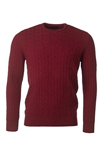 Great and British Knitwear Men's 100% Lambswool Cable & Rib Crew Neck Pullover-Magma-X-Large