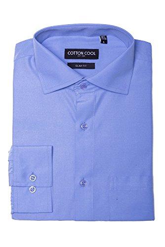 Blue Horizon Long Sleeve (Cotton Cool Men's Slim Fit Solid Long Sleeve Dress Shirt - Horizon Blue, 4XL)