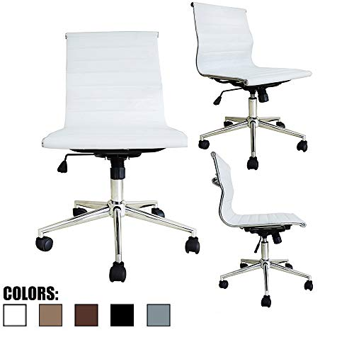 2xhome Mid Back Armless Ribbed Leather Swivel Conference Chair Black (White)