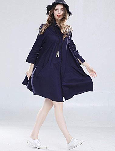 16 Camicetta Da Camicia Zhrui Dimensione Nero Nuova Donna colore Uk Scuro Lunga Blu Taglie Forti Zqxw7pd1w