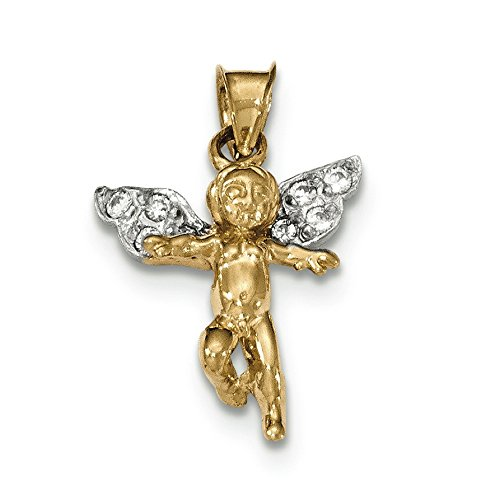 14K Two-Tone Gold Cherub with CZ Charm Pendant