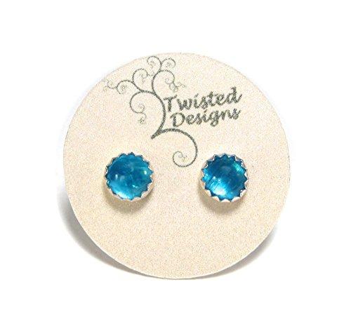 Blue Apatite Stud Earrings in Sterling Silver (Apatite Sterling Silver Ring)