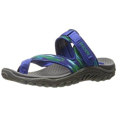 Skechers Women's Reggae-Brush Strokes Toe Ring Sandal, Blue/Green, 6 M US | Flats