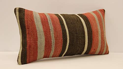 (Ethnic kilim pillow cover 10x20 inch (25x50 cm) Armchair Pillow Knitting Pillow Lumbar Kilim pillow Throw Pillow cover Kilim Cushion Cover sofa pillow rustic farmhouse)