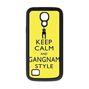 Keep Calm And Gangnam Style Yellow Rubber and Plastic Case Cover for Galaxy S4 Mini I9192/I9198