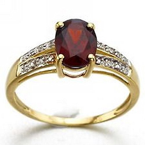 YD Jewels - Best Gift For Women Fashion Size 7 Red Garnet 18K Gold Filled Wedding Ring