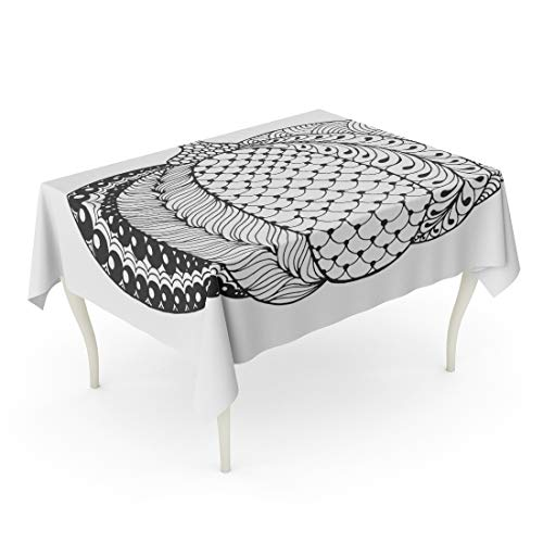 Semtomn Decorative Tablecloth Waterproof Printed Polyester Water Resistant Oil-Proof Zentangle Pumpkin Black White Traditional Symbol of Thanksgiving Halloween Rectangle Table Cloth 52 x 70 -