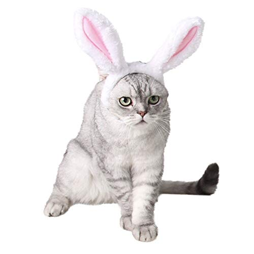CheeseandU 1Pc Cute Pet Bunny Ears Headband for Dogs Cats Pet Halloween Christmas Easter Party Costume Head Wear Accessories, WhiteΠnk ()