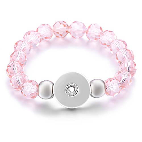 Vocheng 8 Colors Glass Bead Elastic Stretch Bracelet 18mm Snap Jewelry NN-459 - Bead Glass Pink Bracelet