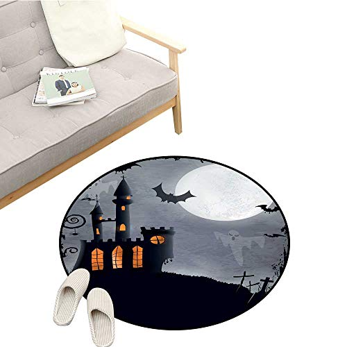 Vintage Halloween Round Area Rug Halloween Themed Asymmetric Caste with Scary Bats and Ghosts Full Moon Environmental Protection D43 Black Grey ()