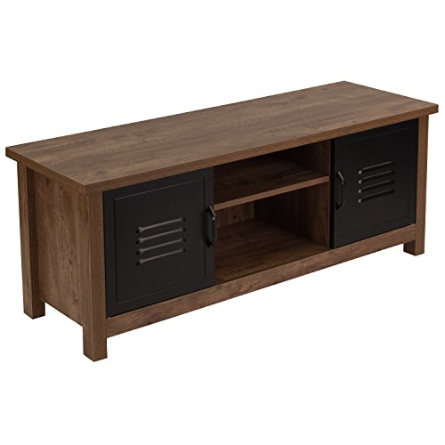 Flash Furniture New Lancaster Collection Crosscut Oak Wood Grain Finish Storage Bench with Metal Cabinet Doors - NAN-JN-21736TR-GG (Oak Room Living Bench)