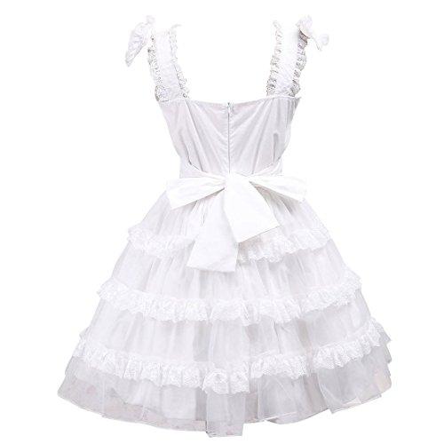 fuer Lolita Kleid Hochzeit Kleid Damen Aermellos Weiß Lace Kleid Partiss Frauen qFAw6tnO