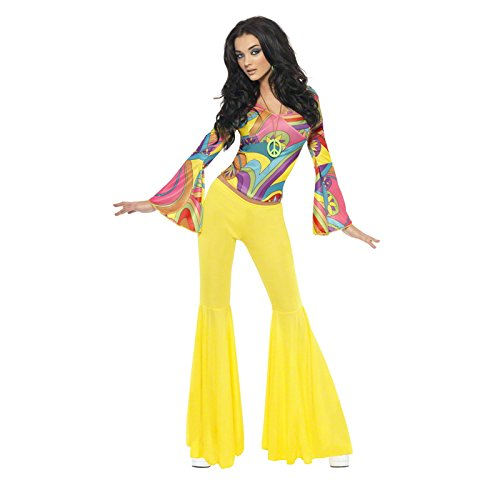 Smiffy's Women's 70's Groovy Babe Costume, Top and Flared pants, 70 Disco, Serious Fun, Size 6-8, 30445 (Boys Disco Fever Costumes)