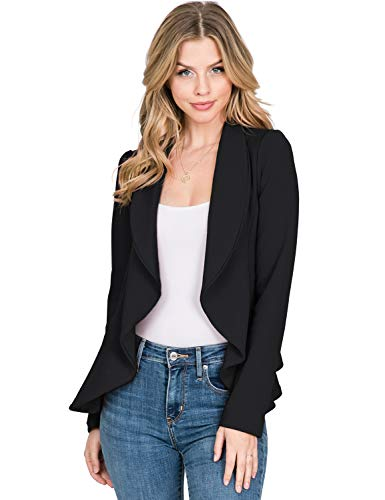 CLOVERY Women's Long Sleeve Stretch Open Front Blazer Jacket, Black 2X Plus Size