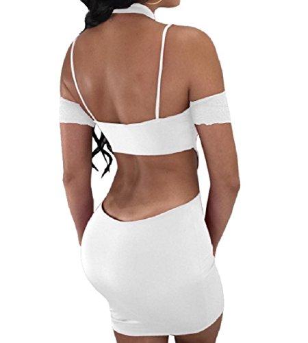Coolred-femmes Backless Ligne Ourlet En Dentelle Licol Creux Robe Midi Solide Blanc