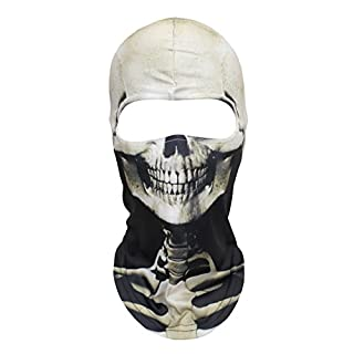 WTACTFUL 3D Skeleton Mask Scary Skull Balaclava Ghost Skull Cosply Costume Halloween Party Full Face Mask for Skiing Snowboard Cycling Motorcycle