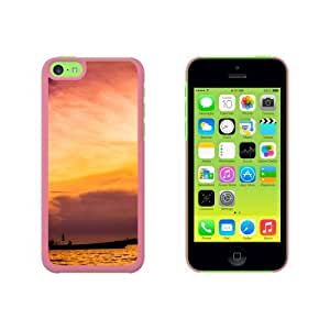 Fishing Boat At Sunset Sunrise Snap On Hard Protective Case for Apple iPhone 5 5s - Pink