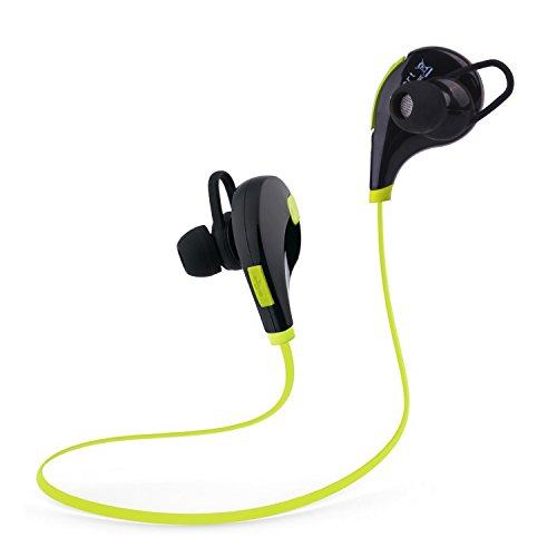 Tecart Racer A1 Bluetooth Headphones Wireless In-Ear Sports Earbuds w/Built-in Mic Sweatproof Headsets HD Stereo Noise Cancelling Headphones (GREEN) - Vaas Bluetooth Headphones