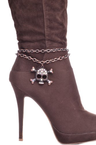 TRENDY FASHION SKULL CHARM BOOT CHAIN BY FASHION DESTINATION | (Copper)