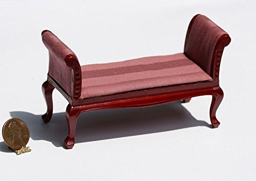 Dollhouse Furniture Mahogany Settee in Pink Damask Stripe Fabric - Mahogany Settee