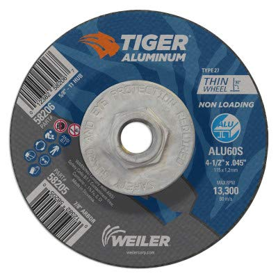 - Weiler 58206 4-1/2 x .045 Tiger Aluminum Type 27 Cut Off Wheel ALU60S 5/8-11 UNC Nut (Pack of 10) Coating Cut Cutting Angle Flute (Pack of 10)