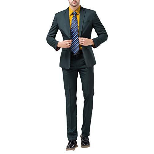 formale comoda Slim Fashionable Tinta Tuta Verde One da unita Caso pezzi Due scuro Fit Button uomo AvEq1