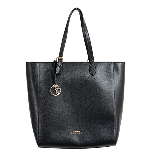 Versace Collection Women's Saffiano Black Leather Tote Shoulder Bag