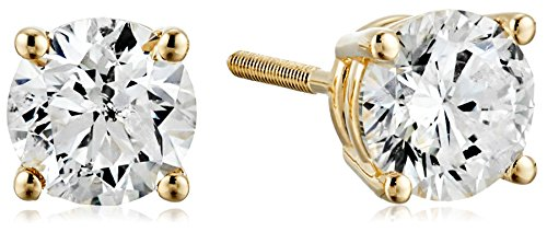 Certified 14k Yellow Gold Diamond with Screw Back and Post Stud Earrings (1 1/2cttw, J-K Color, I1-I2 Clarity) by Amazon Collection