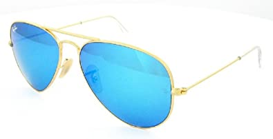 blue ray ban aviator sunglasses  Amazon.com: Ray Ban Aviator Rb3025 112/17 Gold Frame/blue Mirror ...