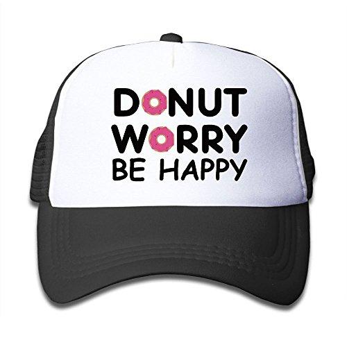 e2fcdd95 ONE-HEART HR Donut Worry Be Happy Kid's Baseball Cap Mesh Adjustable  Trucker Hat For